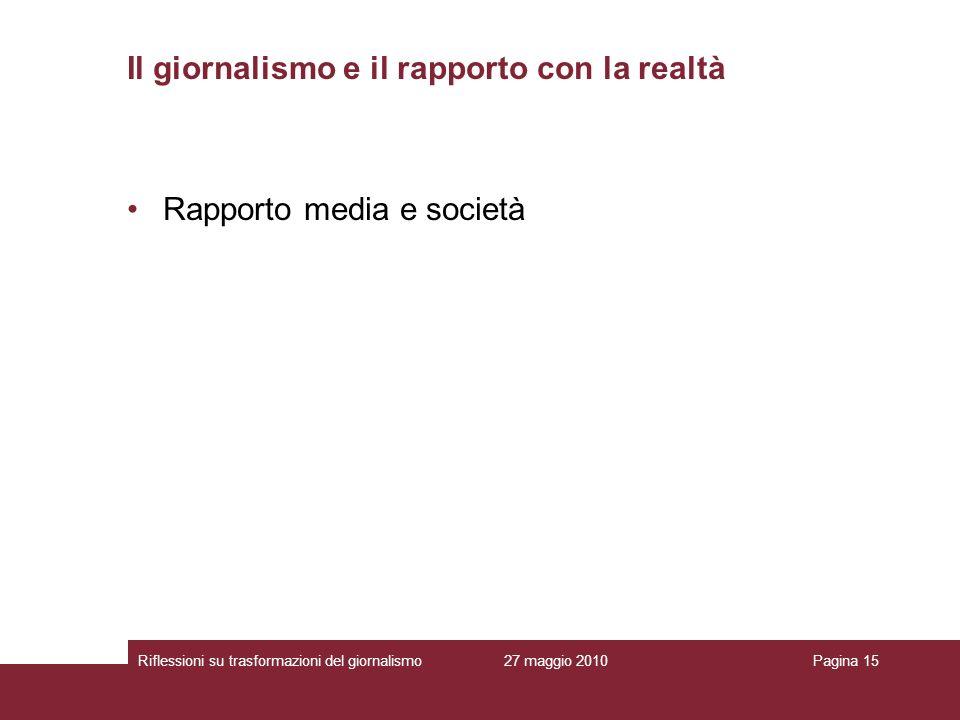 27 maggio 2010Riflessioni su trasformazioni del giornalismoPagina 15 Rapporto media e società Il giornalismo e il rapporto con la realtà