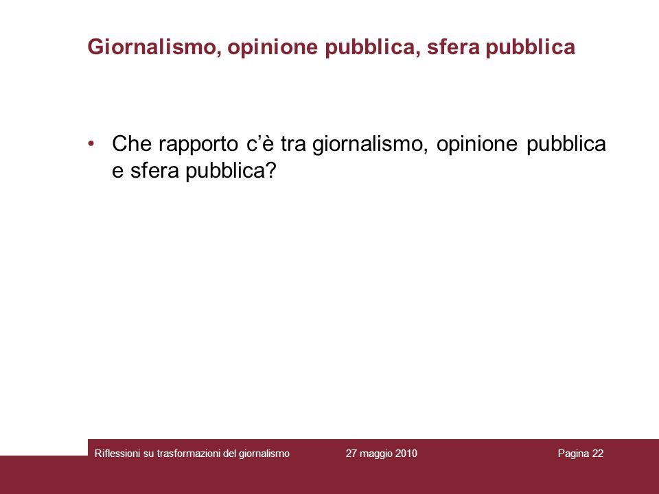 27 maggio 2010Riflessioni su trasformazioni del giornalismoPagina 22 Giornalismo, opinione pubblica, sfera pubblica Che rapporto cè tra giornalismo, o