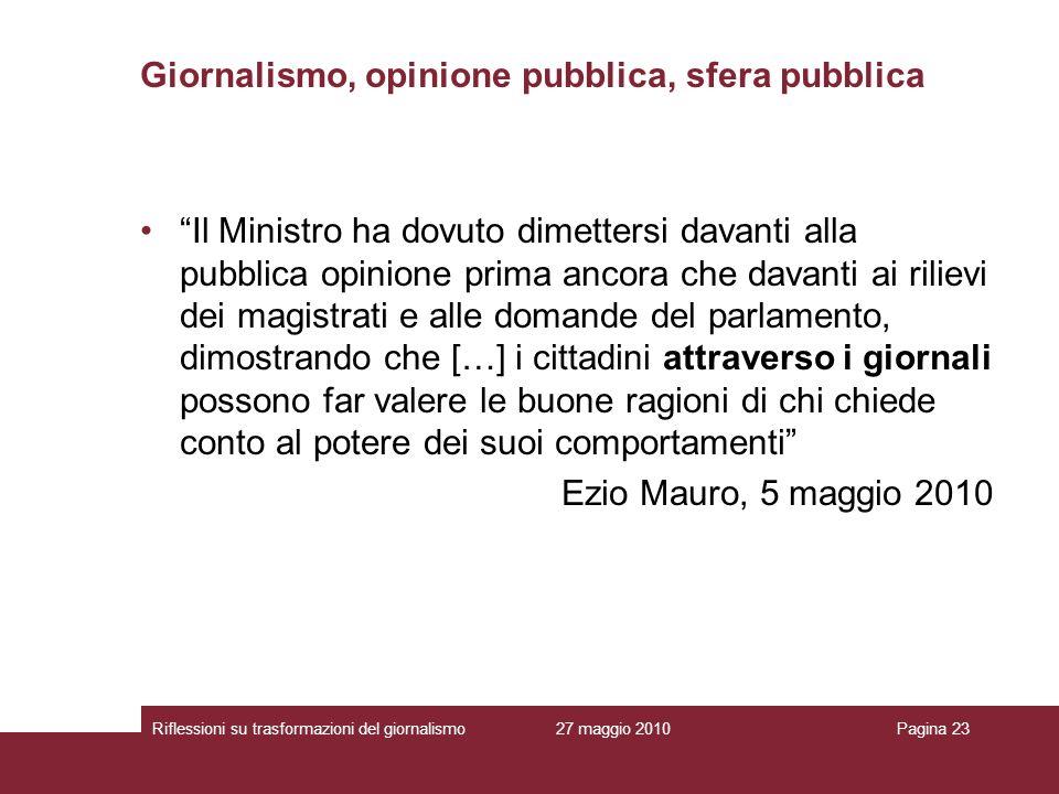 27 maggio 2010Riflessioni su trasformazioni del giornalismoPagina 23 Giornalismo, opinione pubblica, sfera pubblica Il Ministro ha dovuto dimettersi d