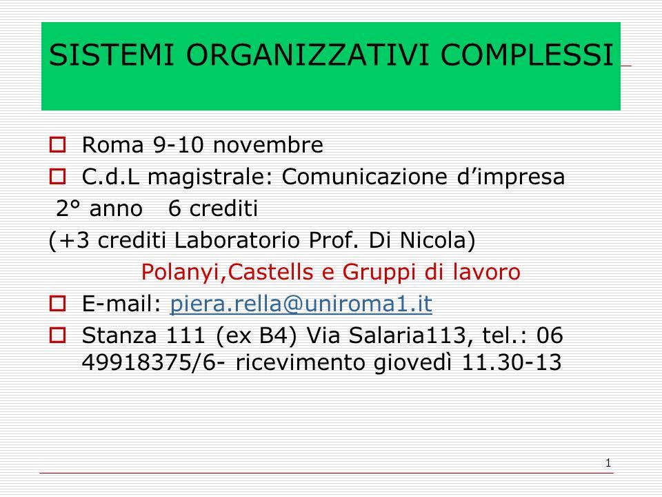 1 SISTEMI ORGANIZZATIVI COMPLESSI Roma 9-10 novembre C.d.L magistrale: Comunicazione dimpresa 2° anno 6 crediti (+3 crediti Laboratorio Prof. Di Nicol