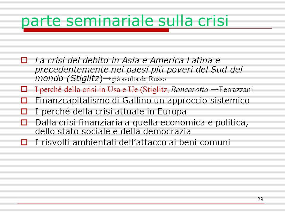 29 parte seminariale sulla crisi La crisi del debito in Asia e America Latina e precedentemente nei paesi più poveri del Sud del mondo (Stiglitz) già