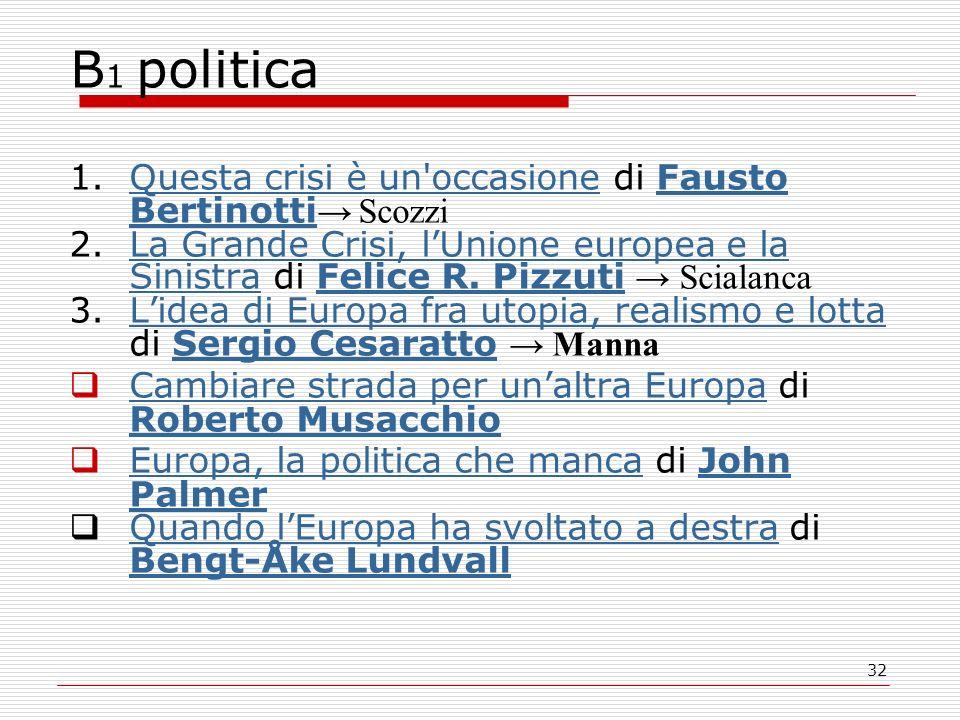 32 B 1 politica 1.Questa crisi è un'occasione di Fausto Bertinotti ScozziQuesta crisi è un'occasioneFausto Bertinotti 2.La Grande Crisi, lUnione europ