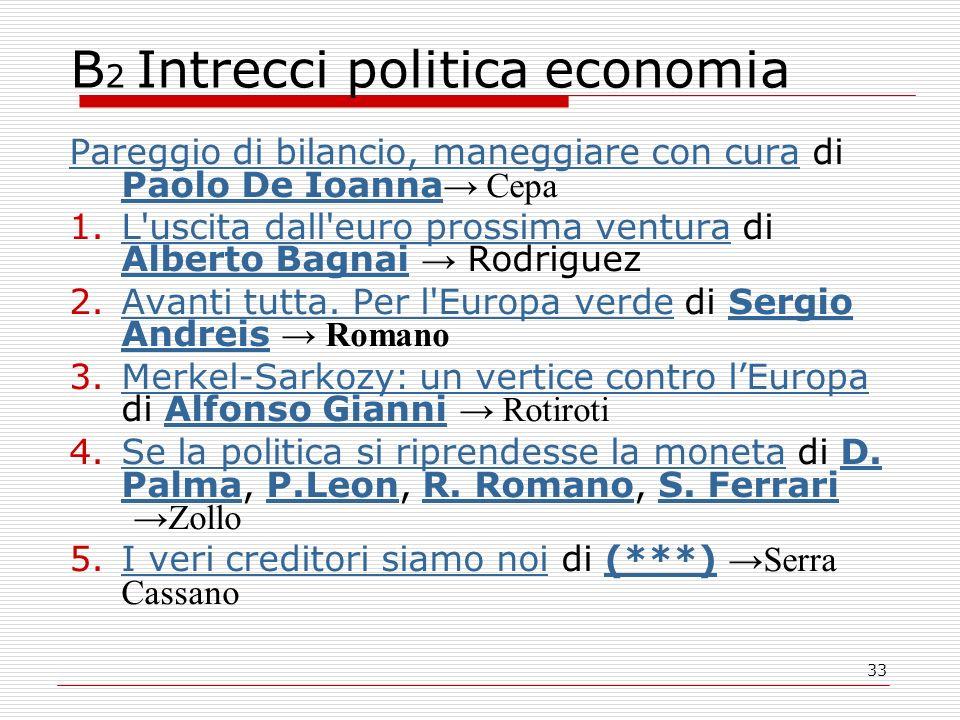 33 B 2 Intrecci politica economia Pareggio di bilancio, maneggiare con curaPareggio di bilancio, maneggiare con cura di Paolo De Ioanna Cepa Paolo De