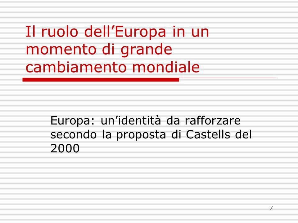 7 Il ruolo dellEuropa in un momento di grande cambiamento mondiale Europa: unidentità da rafforzare secondo la proposta di Castells del 2000