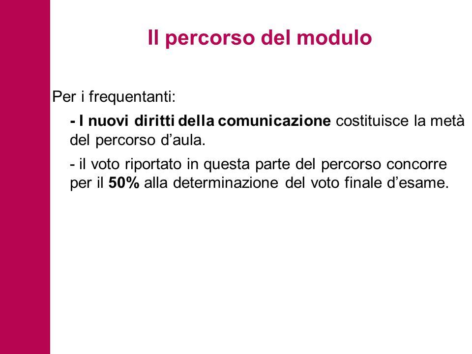 Il percorso del modulo Per i frequentanti: - I nuovi diritti della comunicazione costituisce la metà del percorso daula.