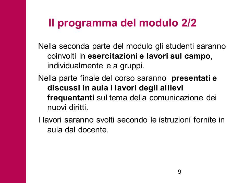 Il programma del modulo 2/2 Nella seconda parte del modulo gli studenti saranno coinvolti in esercitazioni e lavori sul campo, individualmente e a gruppi.
