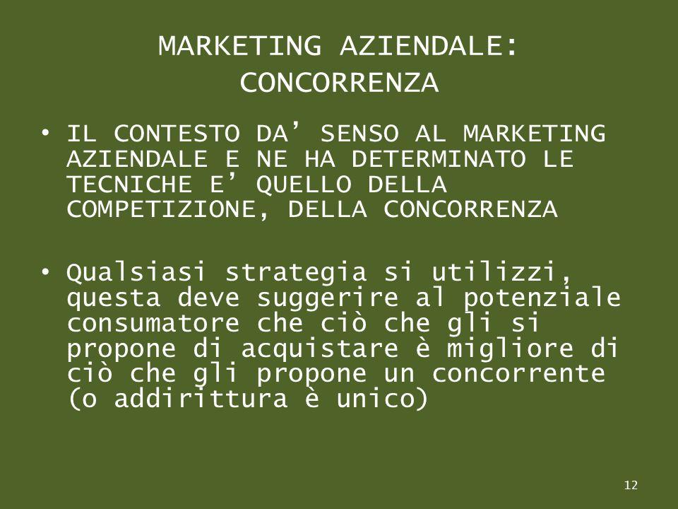 MARKETING AZIENDALE: CONCORRENZA IL CONTESTO DA SENSO AL MARKETING AZIENDALE E NE HA DETERMINATO LE TECNICHE E QUELLO DELLA COMPETIZIONE, DELLA CONCORRENZA Qualsiasi strategia si utilizzi, questa deve suggerire al potenziale consumatore che ciò che gli si propone di acquistare è migliore di ciò che gli propone un concorrente (o addirittura è unico) 12
