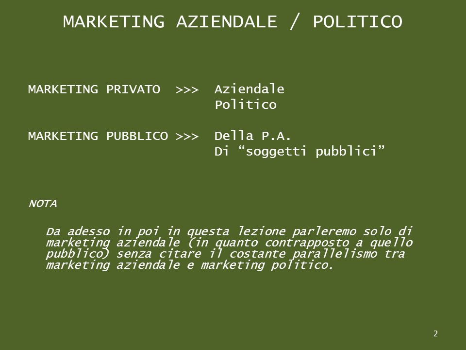 MARKETING AZIENDALE / POLITICO MARKETING PRIVATO >>> Aziendale Politico MARKETING PUBBLICO >>>Della P.A.