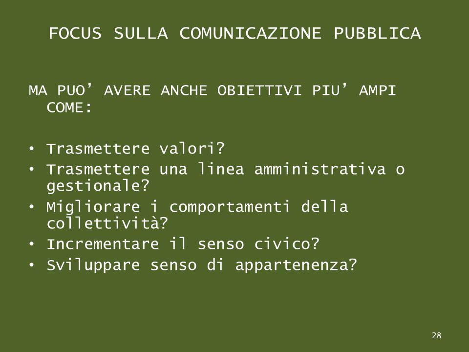 FOCUS SULLA COMUNICAZIONE PUBBLICA MA PUO AVERE ANCHE OBIETTIVI PIU AMPI COME: Trasmettere valori.