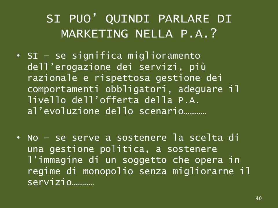 SI PUO QUINDI PARLARE DI MARKETING NELLA P.A..