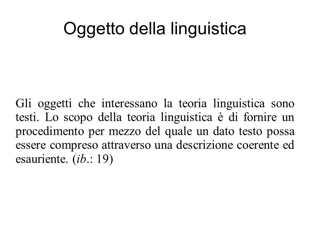 Oggetto della linguistica Gli oggetti che interessano la teoria linguistica sono testi. Lo scopo della teoria linguistica è di fornire un procedimento