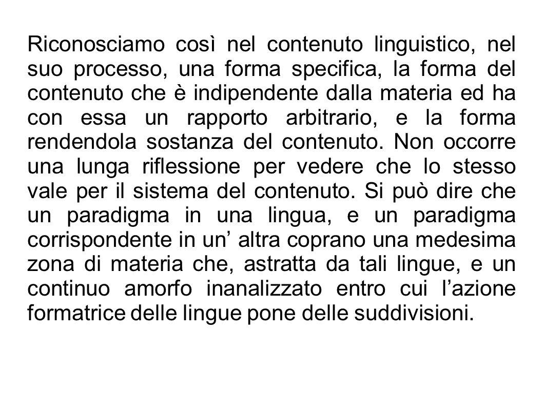 Riconosciamo così nel contenuto linguistico, nel suo processo, una forma specifica, la forma del contenuto che è indipendente dalla materia ed ha con