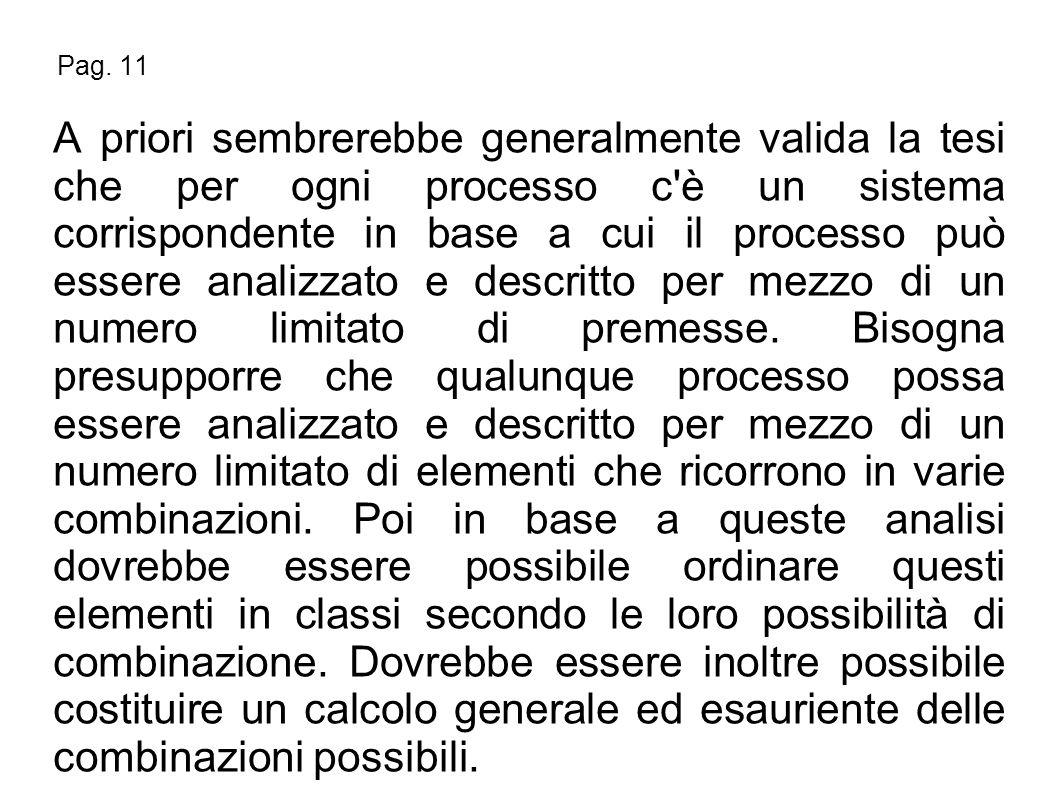 Pag. 11 A priori sembrerebbe generalmente valida la tesi che per ogni processo c'è un sistema corrispondente in base a cui il processo può essere anal