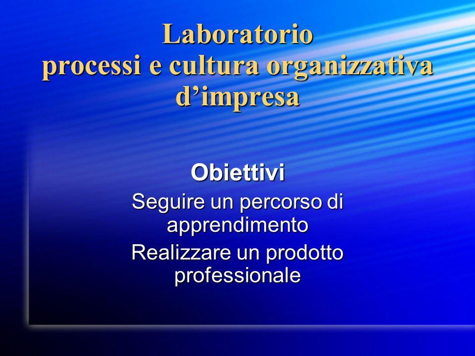 Laboratorio processi e cultura organizzativa dimpresa Obiettivi Seguire un percorso di apprendimento Realizzare un prodotto professionale
