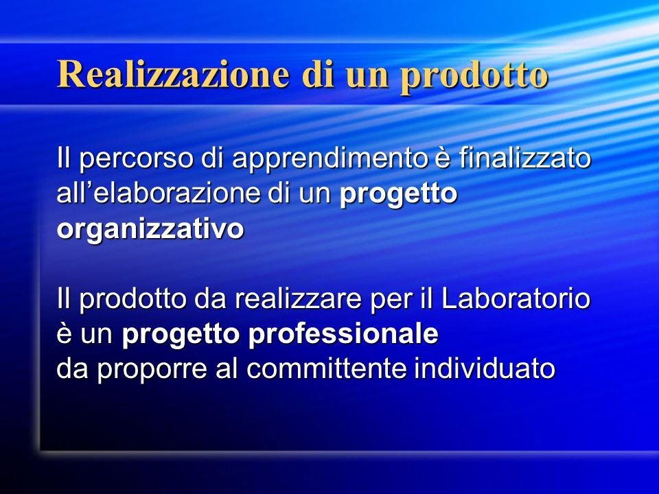 Realizzazione di un prodotto Il percorso di apprendimento è finalizzato allelaborazione di un progetto organizzativo Il prodotto da realizzare per il Laboratorio è un progetto professionale da proporre al committente individuato