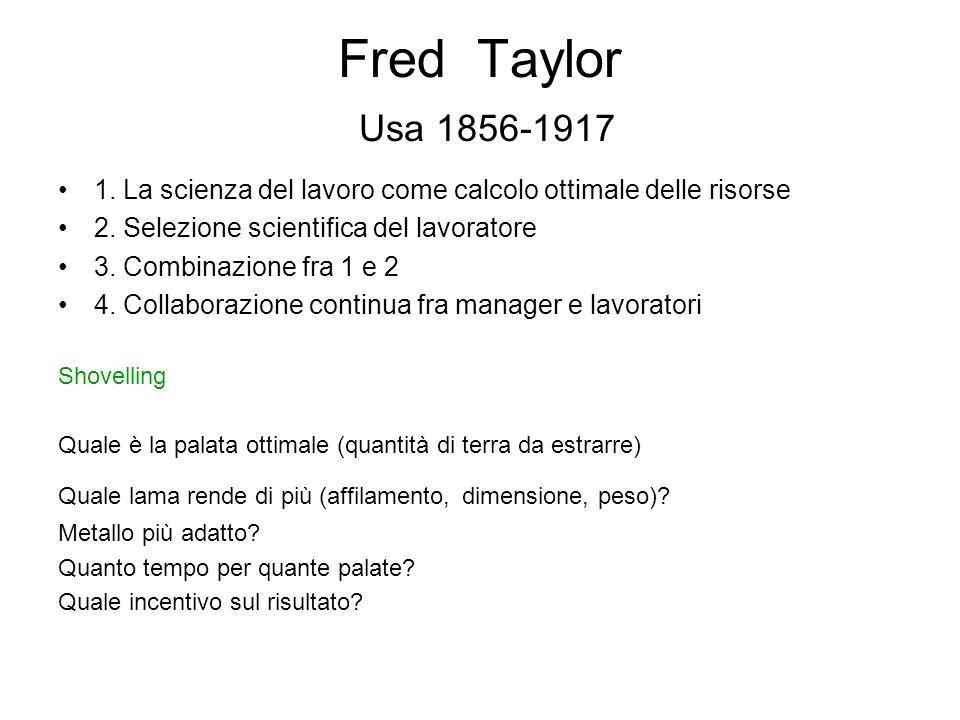 Fred Taylor Usa 1856-1917 1.La scienza del lavoro come calcolo ottimale delle risorse 2.