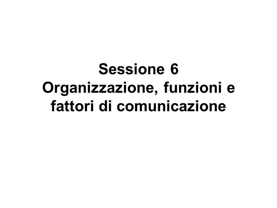 Sessione 6 Organizzazione, funzioni e fattori di comunicazione