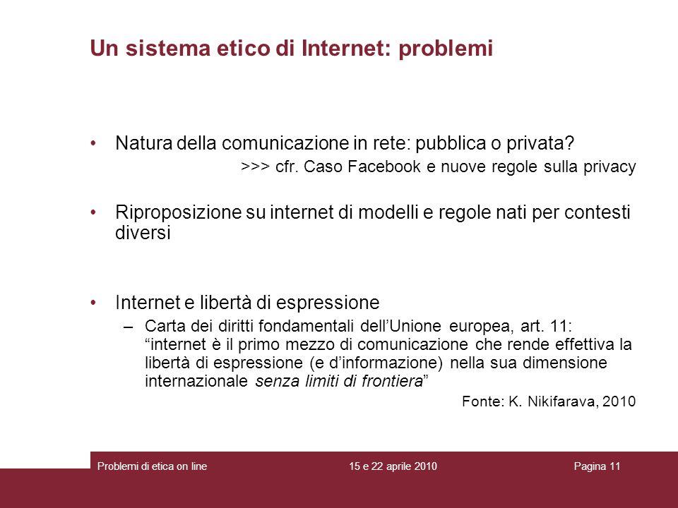 Natura della comunicazione in rete: pubblica o privata? >>> cfr. Caso Facebook e nuove regole sulla privacy Riproposizione su internet di modelli e re