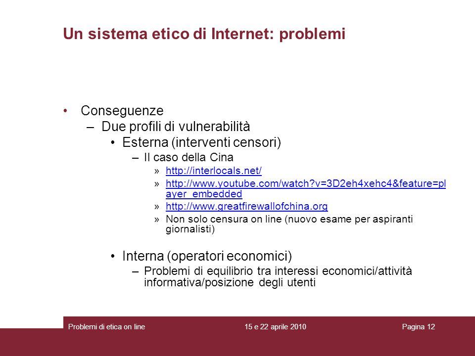 Conseguenze –Due profili di vulnerabilità Esterna (interventi censori) –Il caso della Cina »http://interlocals.net/http://interlocals.net/ »http://www