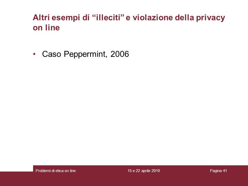 Caso Peppermint, 2006 Altri esempi di illeciti e violazione della privacy on line 15 e 22 aprile 2010Problemi di etica on linePagina 41