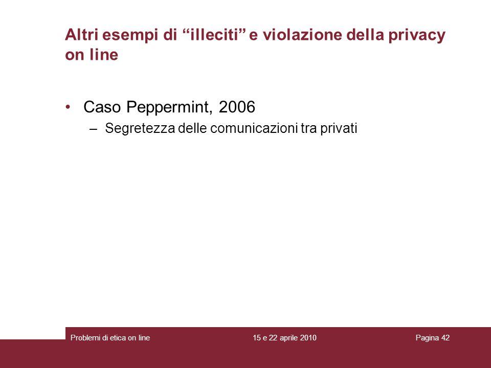 Caso Peppermint, 2006 –Segretezza delle comunicazioni tra privati Altri esempi di illeciti e violazione della privacy on line 15 e 22 aprile 2010Probl