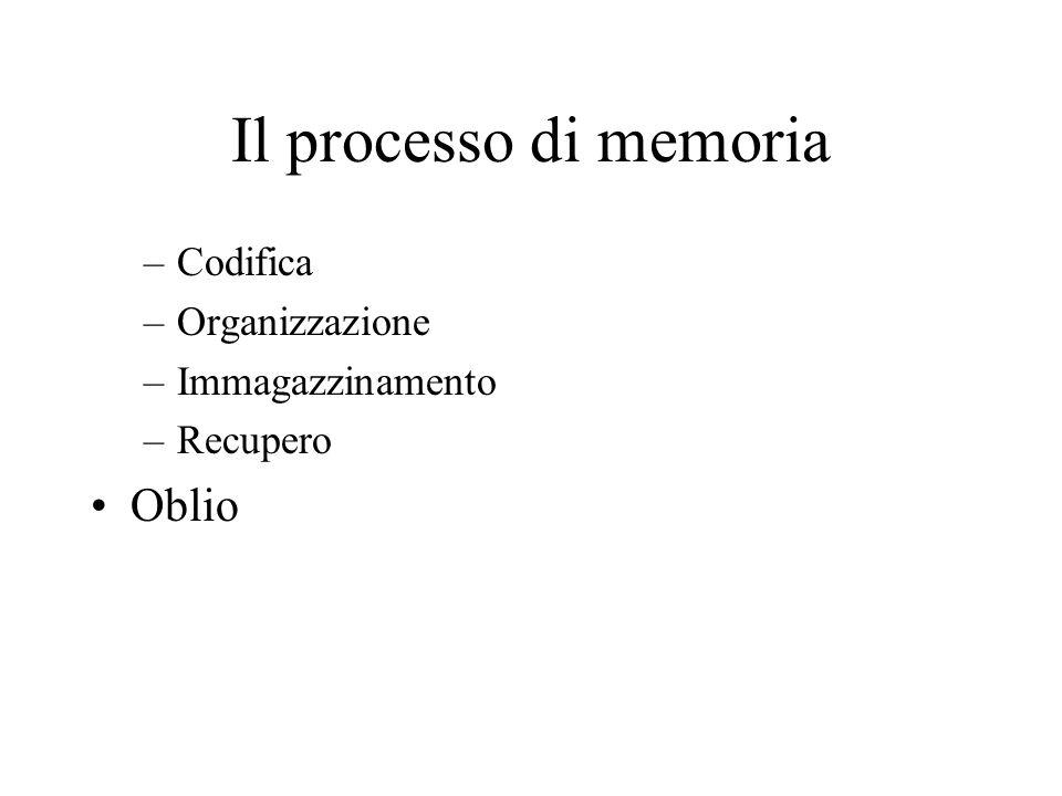 Il processo di memoria –Codifica –Organizzazione –Immagazzinamento –Recupero Oblio
