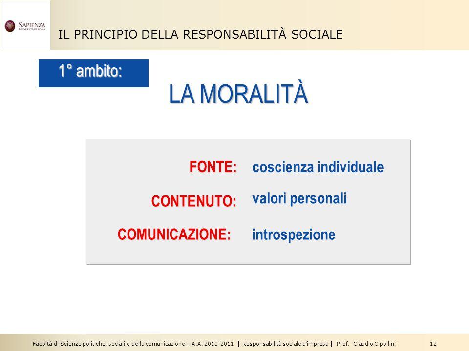 Facoltà di Scienze politiche, sociali e della comunicazione – A.A. 2010-2011 | Responsabilità sociale dimpresa | Prof. Claudio Cipollini 12 IL PRINCIP