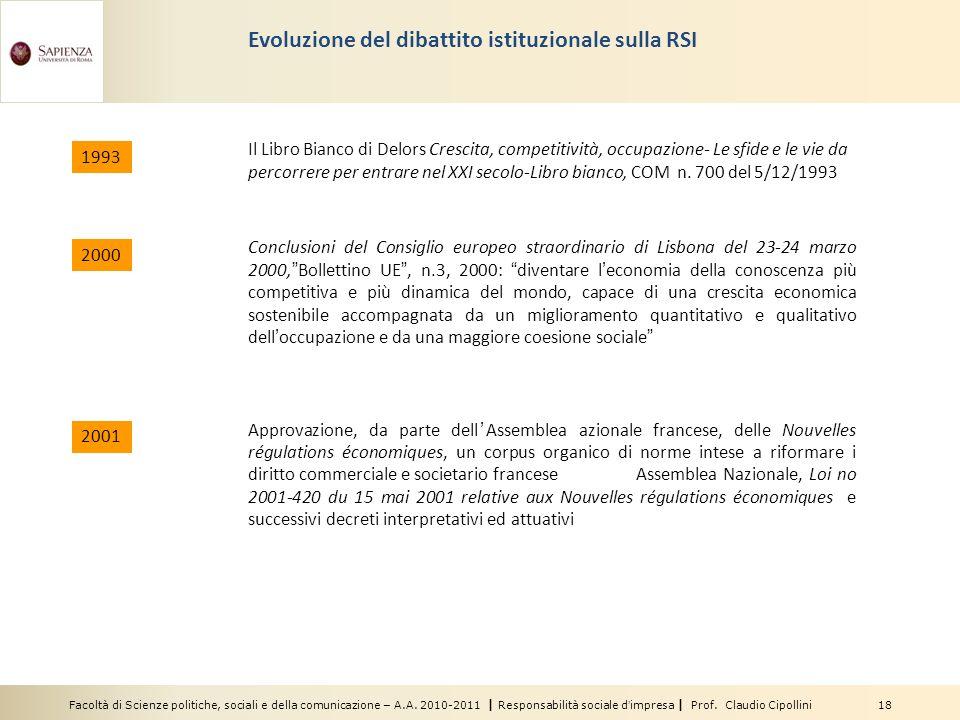 Facoltà di Scienze politiche, sociali e della comunicazione – A.A. 2010-2011 | Responsabilità sociale dimpresa | Prof. Claudio Cipollini 18 Evoluzione