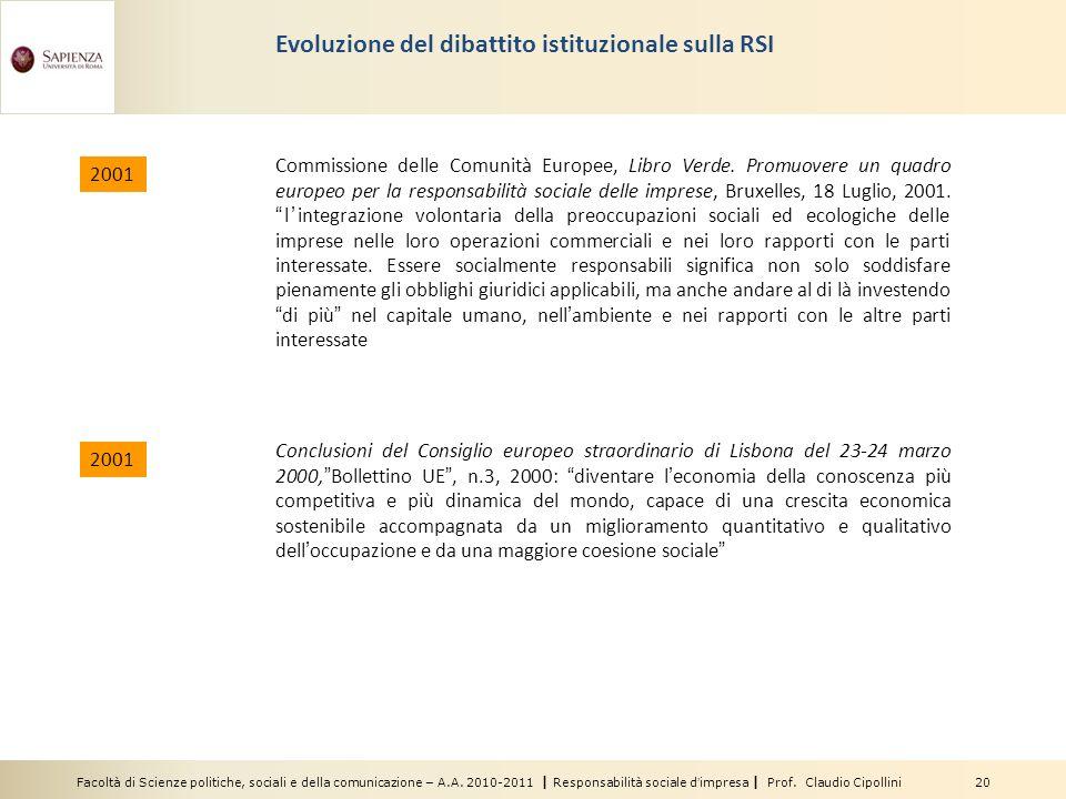 Facoltà di Scienze politiche, sociali e della comunicazione – A.A. 2010-2011 | Responsabilità sociale dimpresa | Prof. Claudio Cipollini 20 Evoluzione