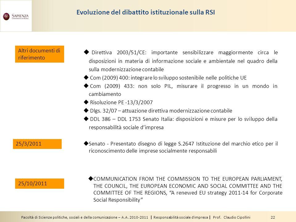 Facoltà di Scienze politiche, sociali e della comunicazione – A.A. 2010-2011 | Responsabilità sociale dimpresa | Prof. Claudio Cipollini 22 Evoluzione