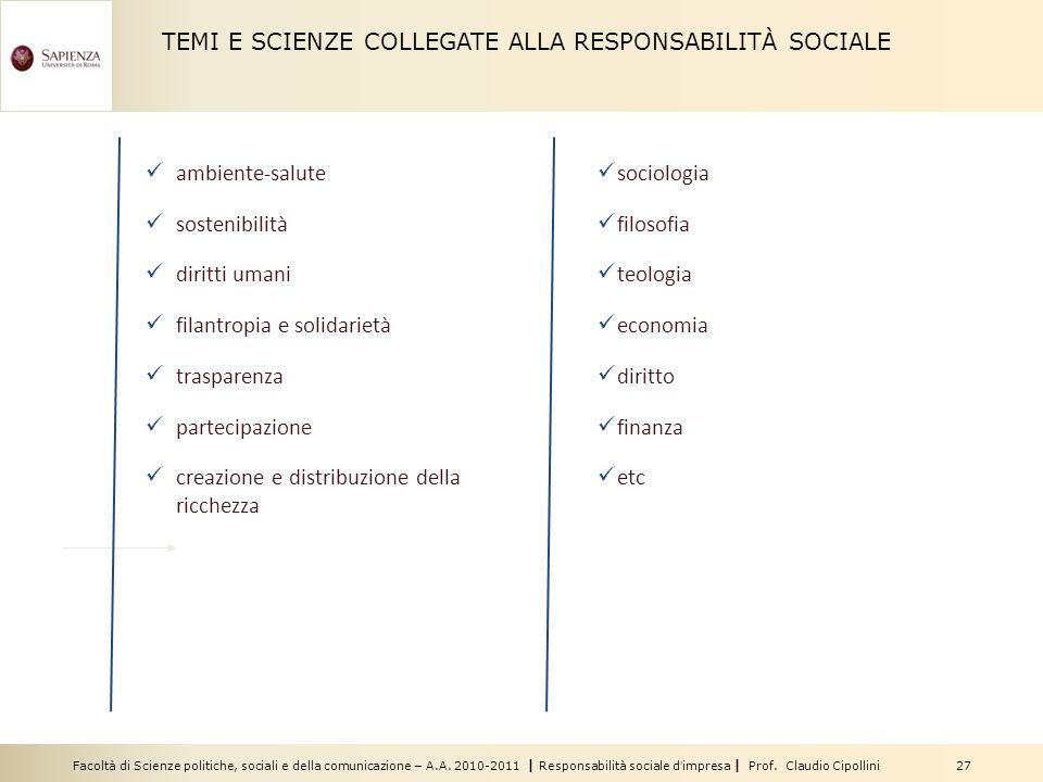 Facoltà di Scienze politiche, sociali e della comunicazione – A.A. 2010-2011 | Responsabilità sociale dimpresa | Prof. Claudio Cipollini 27 ambiente-s