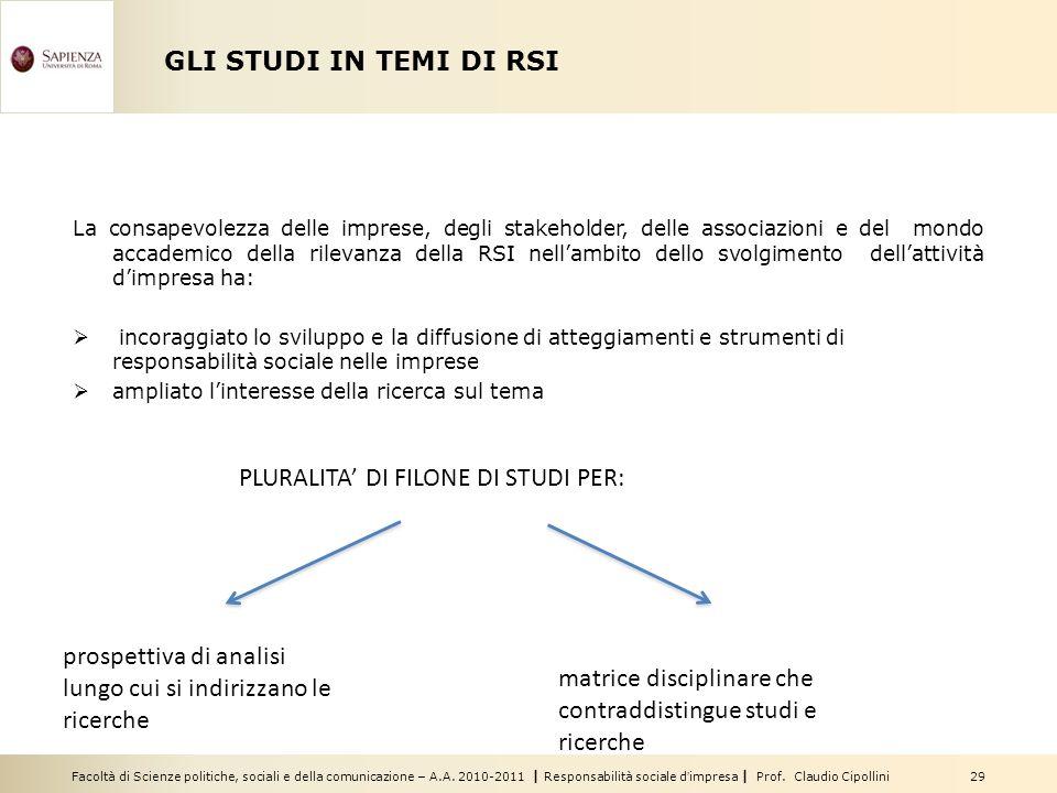 Facoltà di Scienze politiche, sociali e della comunicazione – A.A. 2010-2011 | Responsabilità sociale dimpresa | Prof. Claudio Cipollini 29 GLI STUDI