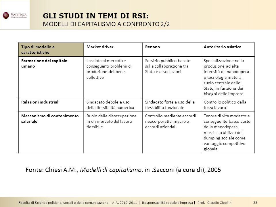 Facoltà di Scienze politiche, sociali e della comunicazione – A.A. 2010-2011 | Responsabilità sociale dimpresa | Prof. Claudio Cipollini 33 GLI STUDI