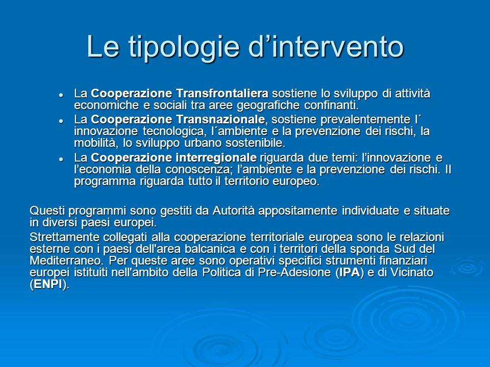 Le tipologie dintervento La Cooperazione Transfrontaliera sostiene lo sviluppo di attività economiche e sociali tra aree geografiche confinanti. La Co