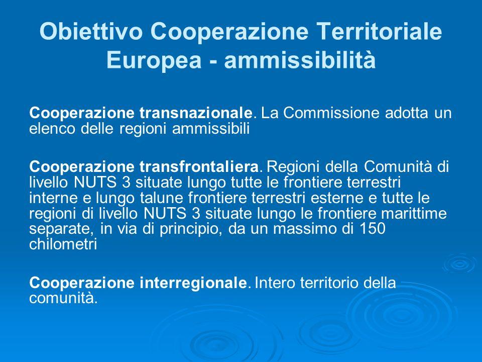 Obiettivo Cooperazione Territoriale Europea - ammissibilità Cooperazione transnazionale. La Commissione adotta un elenco delle regioni ammissibili Coo