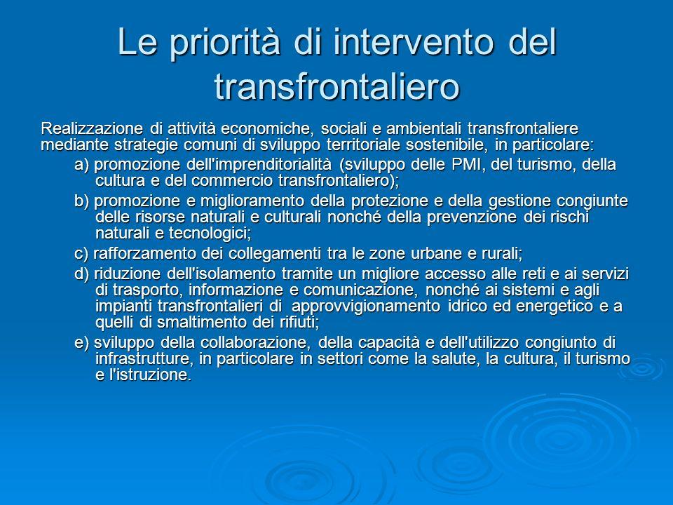 Le priorità di intervento del transfrontaliero Realizzazione di attività economiche, sociali e ambientali transfrontaliere mediante strategie comuni d