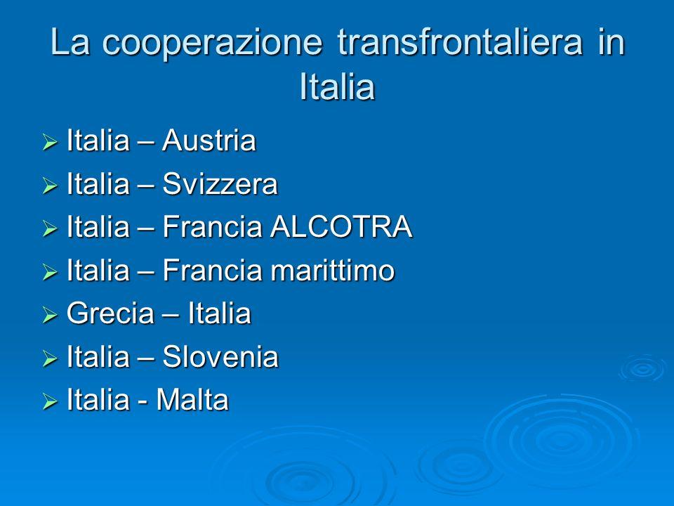 La cooperazione transfrontaliera in Italia Italia – Austria Italia – Austria Italia – Svizzera Italia – Svizzera Italia – Francia ALCOTRA Italia – Fra