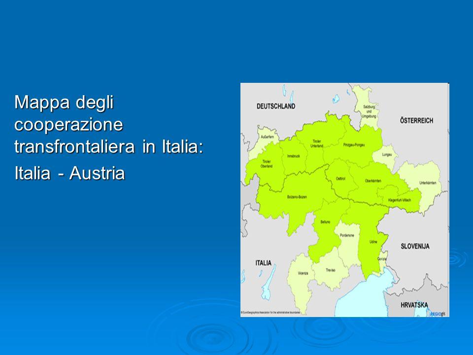 Mappa degli cooperazione transfrontaliera in Italia: Italia - Austria