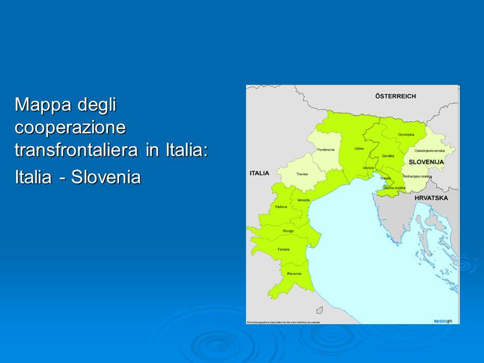 Mappa degli cooperazione transfrontaliera in Italia: Italia - Slovenia