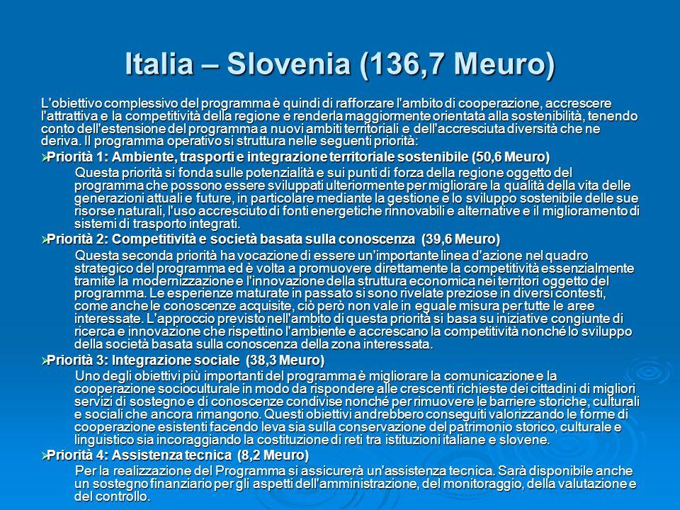 Italia – Slovenia (136,7 Meuro) L'obiettivo complessivo del programma è quindi di rafforzare l'ambito di cooperazione, accrescere l'attrattiva e la co