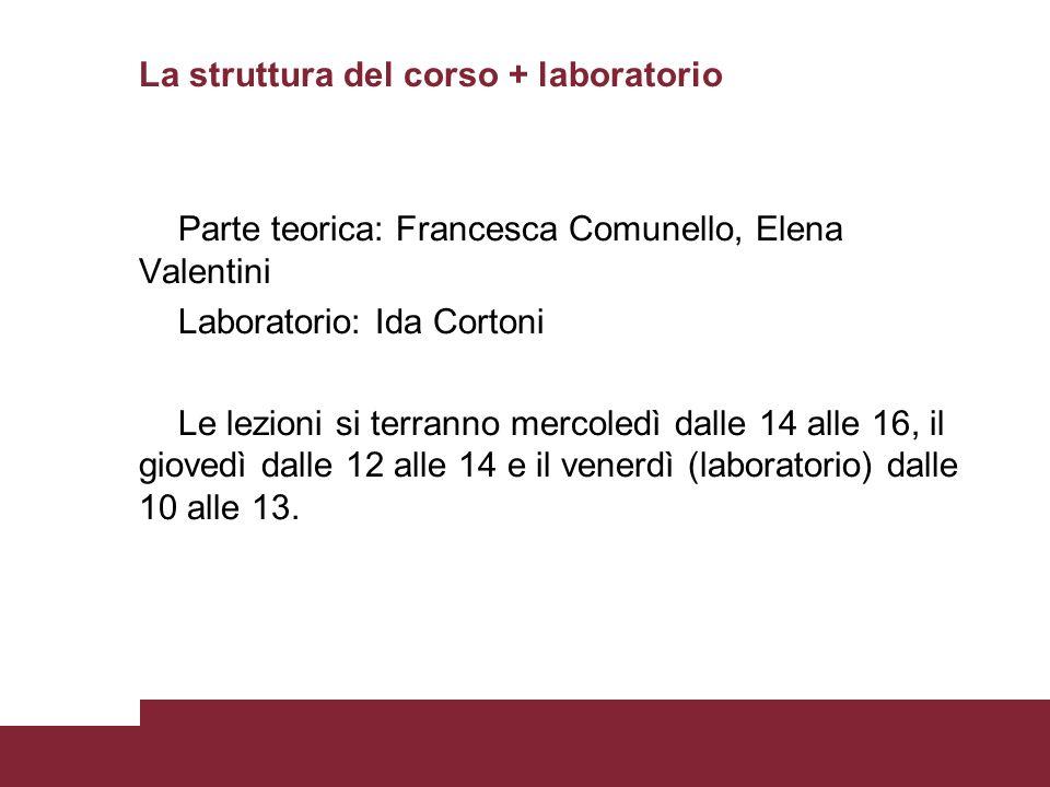 La struttura del corso + laboratorio Parte teorica: Francesca Comunello, Elena Valentini Laboratorio: Ida Cortoni Le lezioni si terranno mercoledì dal