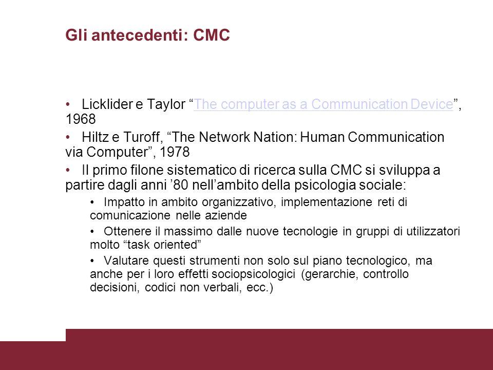 Gli antecedenti: CMC Licklider e Taylor The computer as a Communication Device, 1968The computer as a Communication Device Hiltz e Turoff, The Network