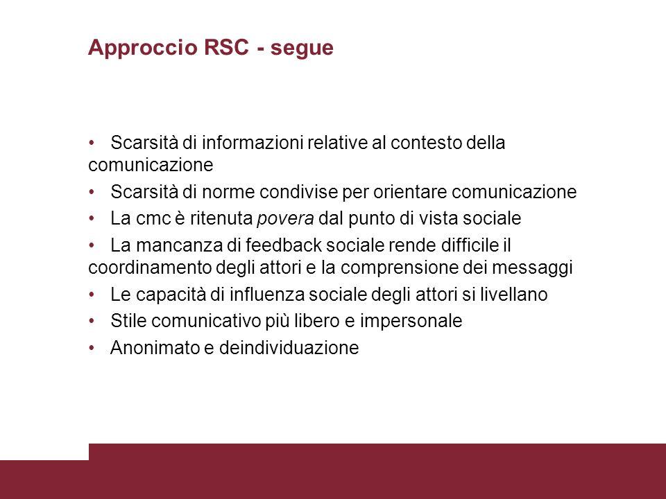 Approccio RSC - segue Scarsità di informazioni relative al contesto della comunicazione Scarsità di norme condivise per orientare comunicazione La cmc