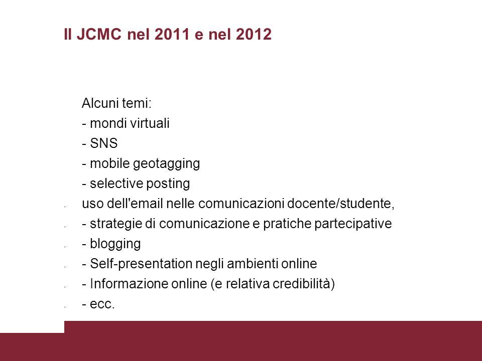 Il JCMC nel 2011 e nel 2012 Alcuni temi: - mondi virtuali - SNS - mobile geotagging - selective posting - uso dell'email nelle comunicazioni docente/s