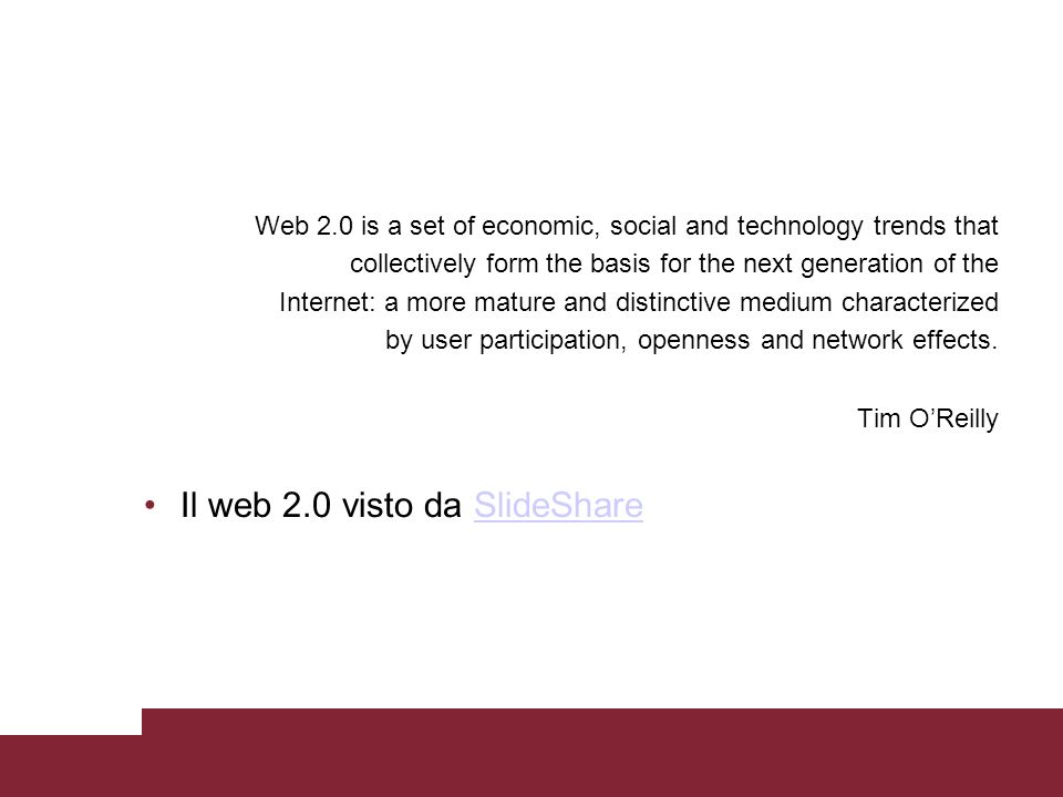 Web 2.0 is a set of economic, social and technology trends that collectively form the basis for the next generation of the Internet: a more mature and
