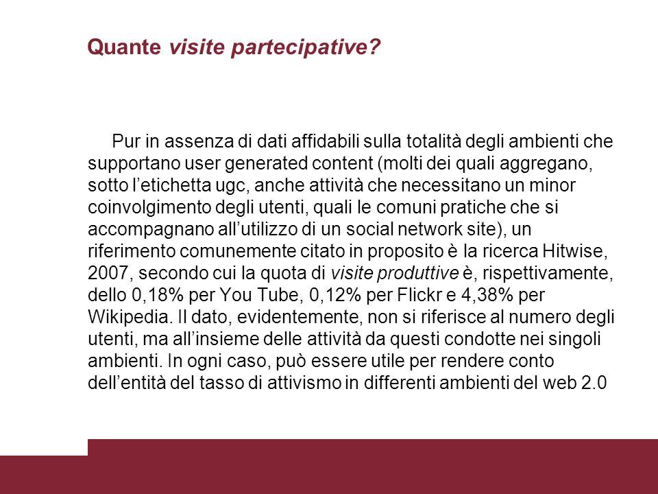 Quante visite partecipative? Pur in assenza di dati affidabili sulla totalità degli ambienti che supportano user generated content (molti dei quali ag