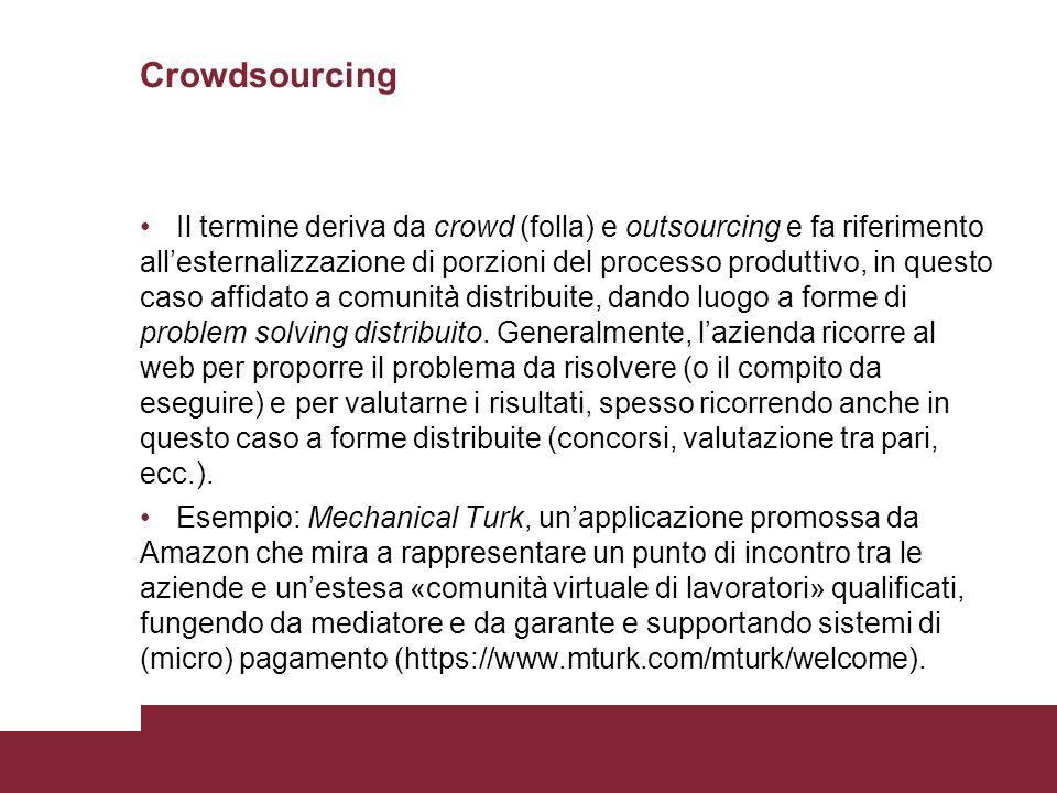 Crowdsourcing Il termine deriva da crowd (folla) e outsourcing e fa riferimento allesternalizzazione di porzioni del processo produttivo, in questo ca
