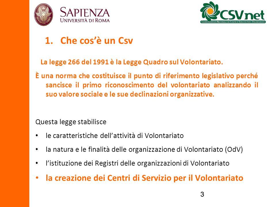33 La legge 266 del 1991 è la Legge Quadro sul Volontariato. È una norma che costituisce il punto di riferimento legislativo perché sancisce il primo