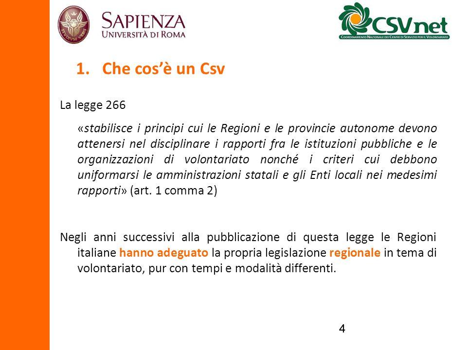44 La legge 266 «stabilisce i principi cui le Regioni e le provincie autonome devono attenersi nel disciplinare i rapporti fra le istituzioni pubblich