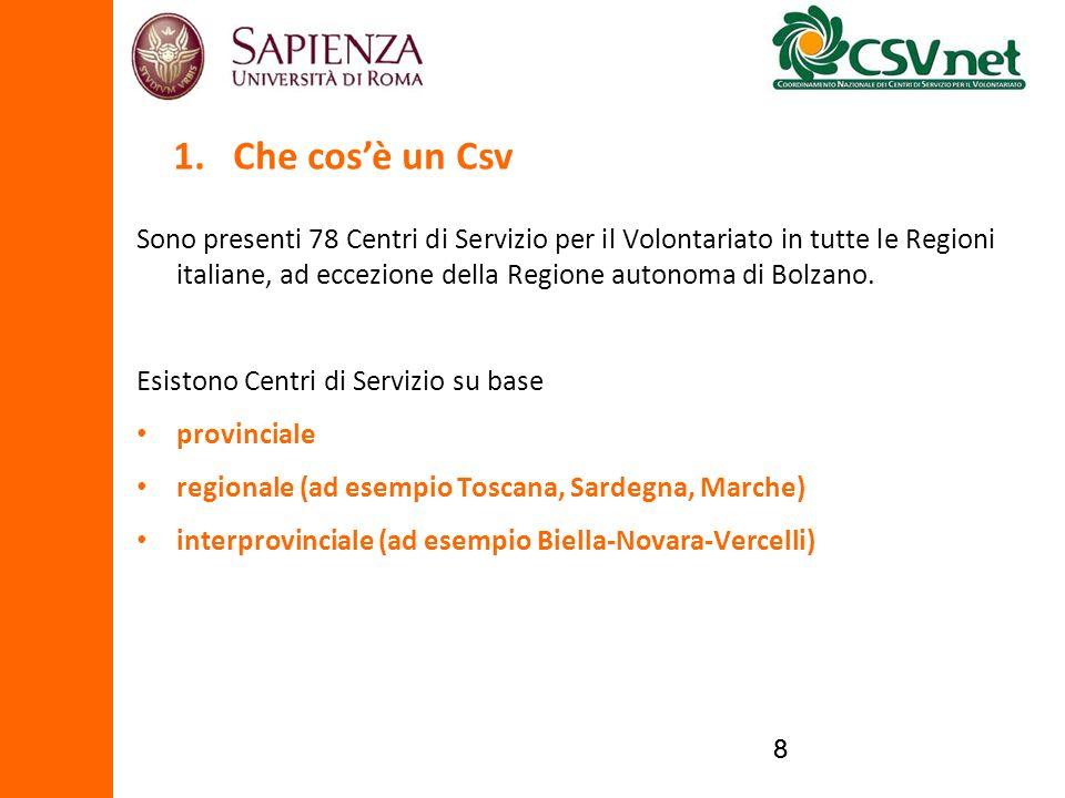 88 Sono presenti 78 Centri di Servizio per il Volontariato in tutte le Regioni italiane, ad eccezione della Regione autonoma di Bolzano. Esistono Cent